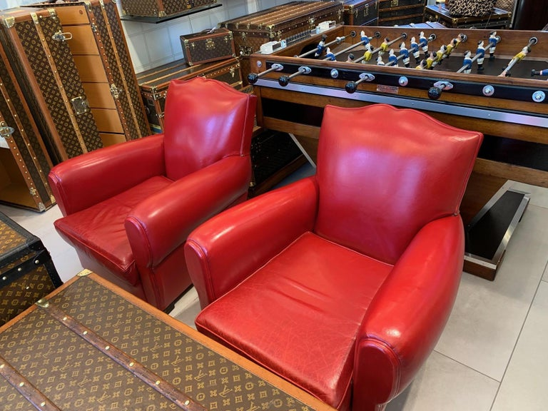 Pair of Art Deco French Mustache Back Club Chairs in Red Leather For Sale 8