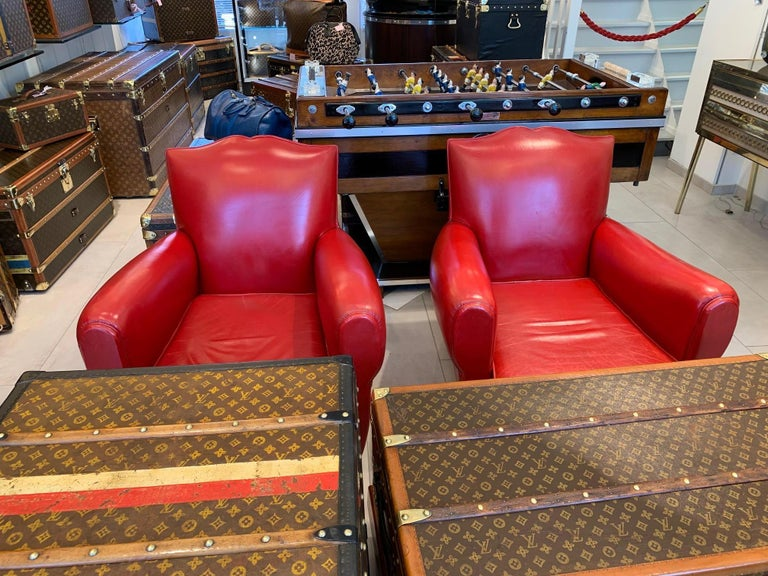 Pair of Art Deco French Mustache Back Club Chairs in Red Leather For Sale 9