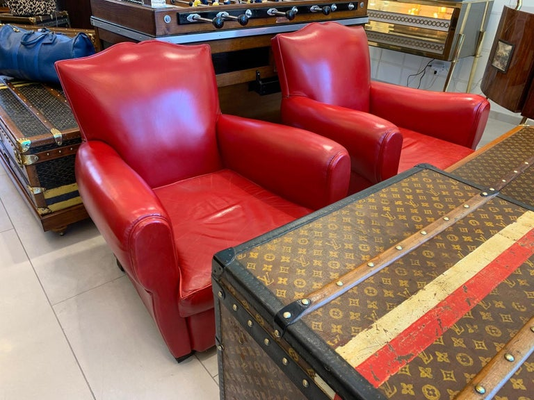 Pair of Art Deco French Mustache Back Club Chairs in Red Leather For Sale 10