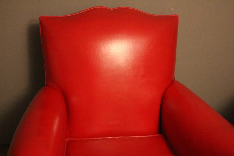 Mid-20th Century Pair of Art Deco French Mustache Back Club Chairs in Red Leather For Sale