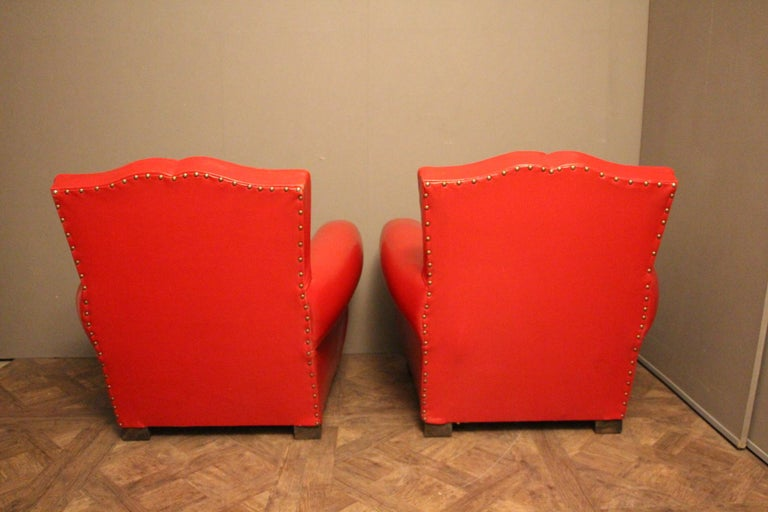 Pair of Art Deco French Mustache Back Club Chairs in Red Leather For Sale 2