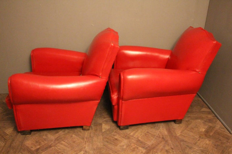 Pair of Art Deco French Mustache Back Club Chairs in Red Leather For Sale 3