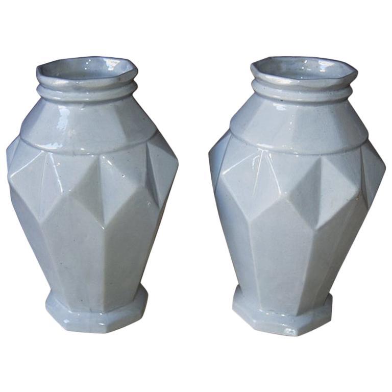 Pair of Art Deco French Vases in Craquelè, 1930s