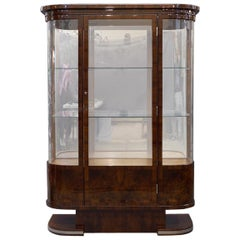 Art Deco French Vitrine in Walnut