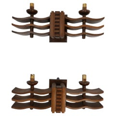 Pair of Art Deco French Wall Lights in Manner of Dudouyt