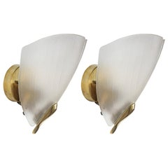 Pair of Art Deco Frosted Glass and Brass Wall Sconces