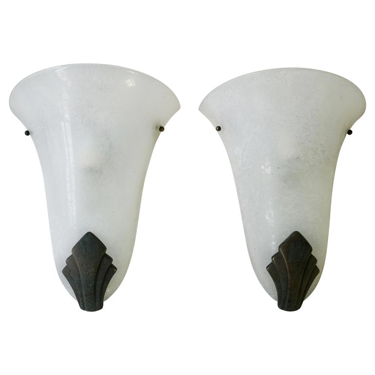 Pair of Art Deco Frosted Glass and Bronze Wall Lights Sconces For Sale