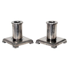 Pair of Art Deco GAB Candleholders in Pewter Attributed to Jacob Ängman, 1933