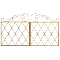 Pair of Art Deco Gilded Iron Gates, France, 1940s