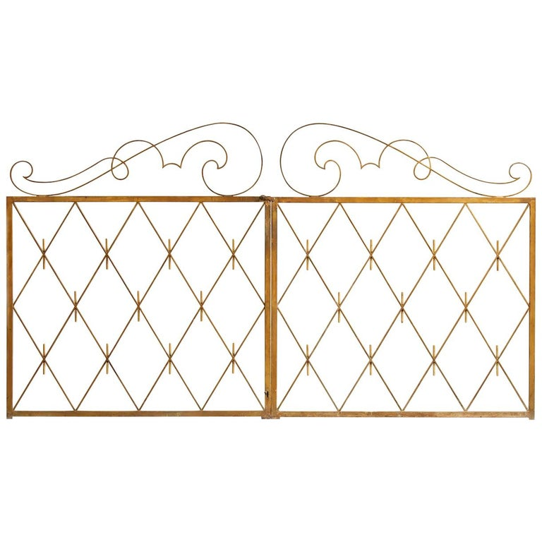 Pair of Art Deco Gilded Iron Gates, France, 1940s For Sale