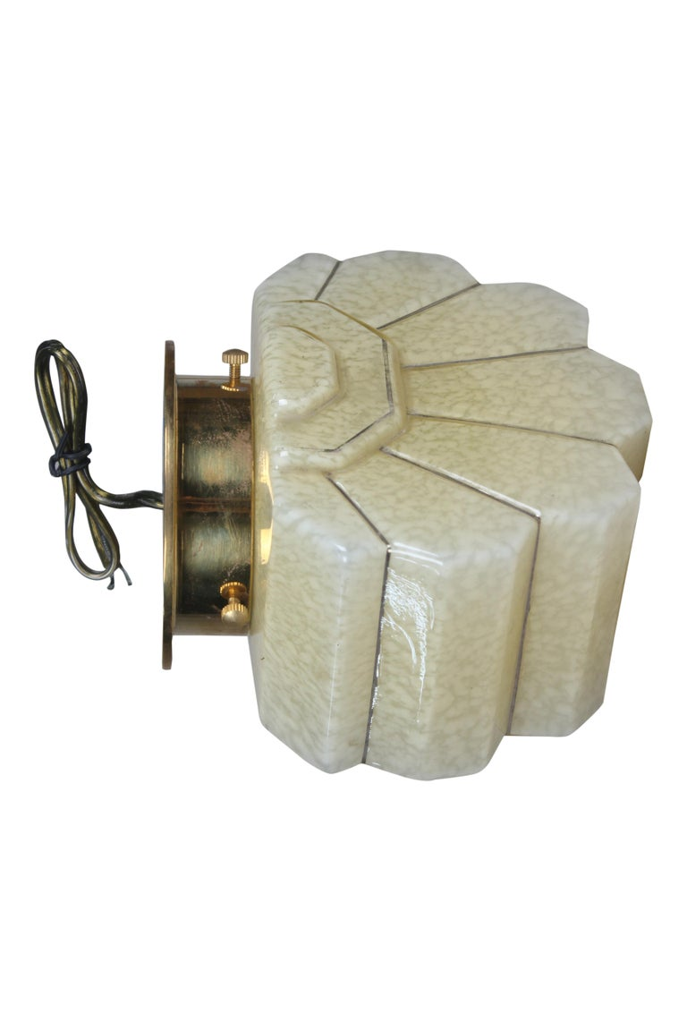 European Pair of Art Deco Glass and Brass Sconces For Sale