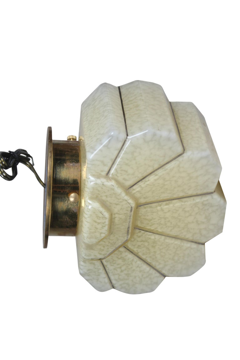 Pair of Art Deco Glass and Brass Sconces In Good Condition For Sale In Nantucket, MA