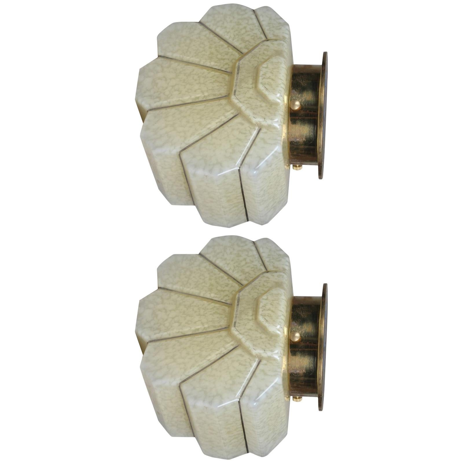Pair of Art Deco Glass and Brass Sconces