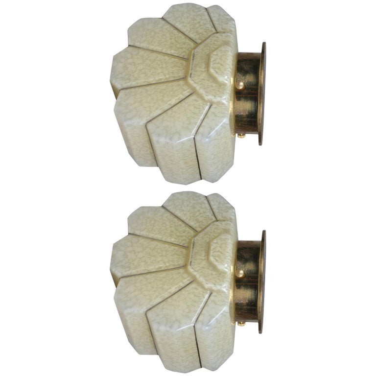 Pair of Art Deco Glass and Brass Sconces For Sale