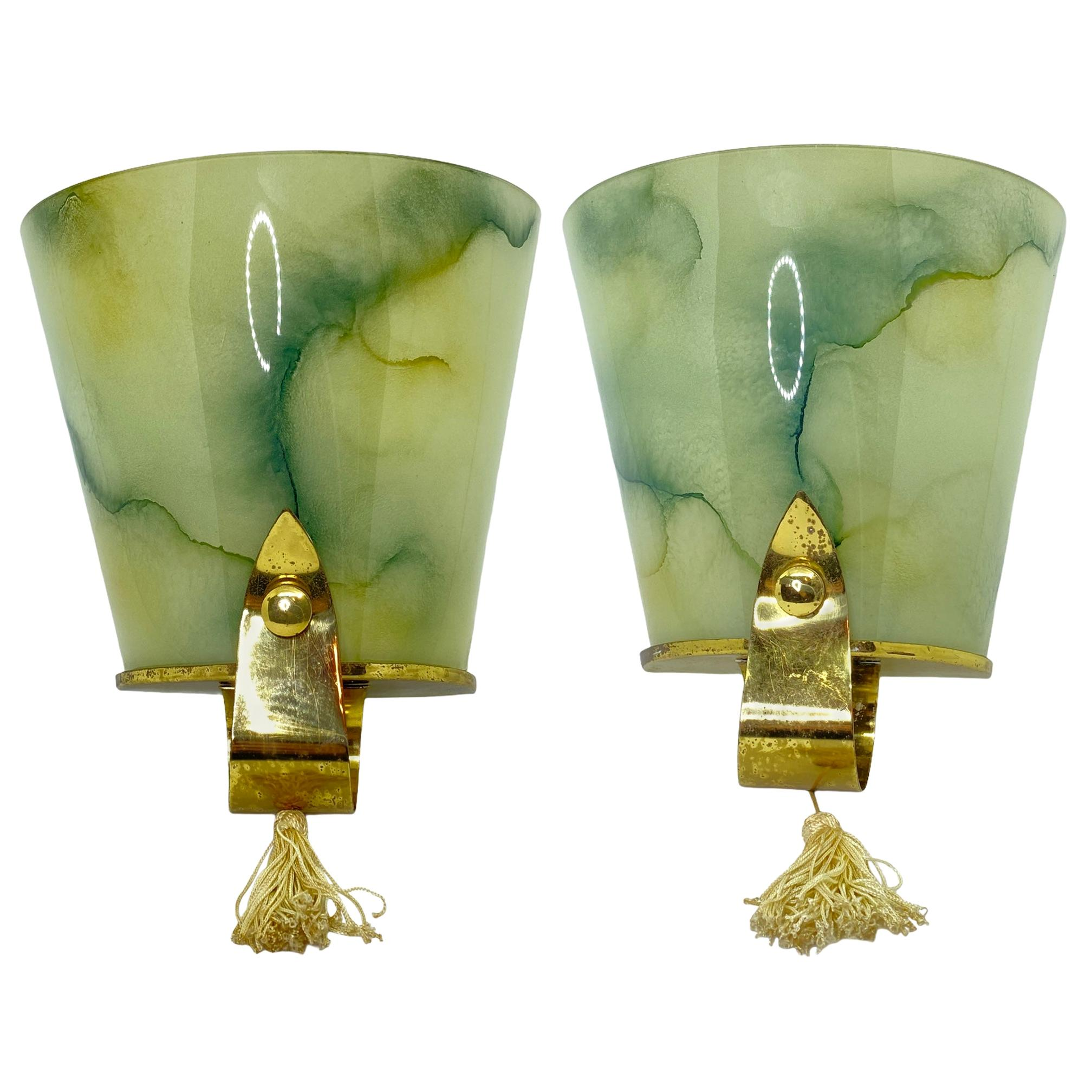 Pair of Art Deco Glass and Brass Sconces Vintage, German, 1930s