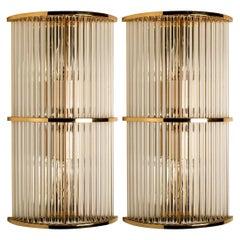Pair of Art Deco Glass Rod Sconces in Style of the Sciolari, 1970