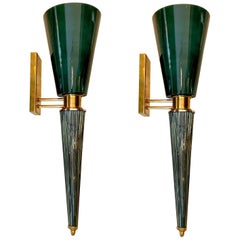 Pair of Art Deco Green Conical Murano Wall Sconces, Brass Fittings, 1940s