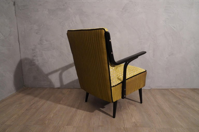 Mid-20th Century Art Deco Green Velvet and Black Lacquered Wood Armchairs, 1940 For Sale