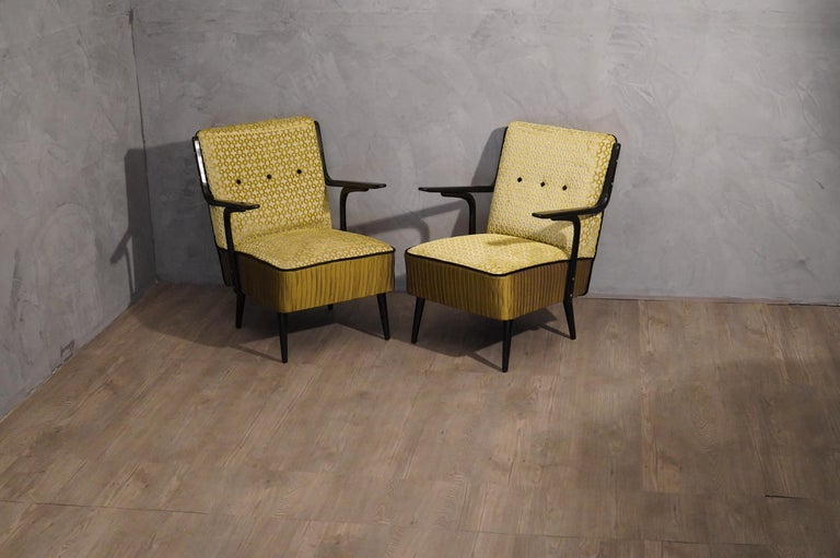 Art Deco Green Velvet and Black Lacquered Wood Armchairs, 1940 For Sale 3