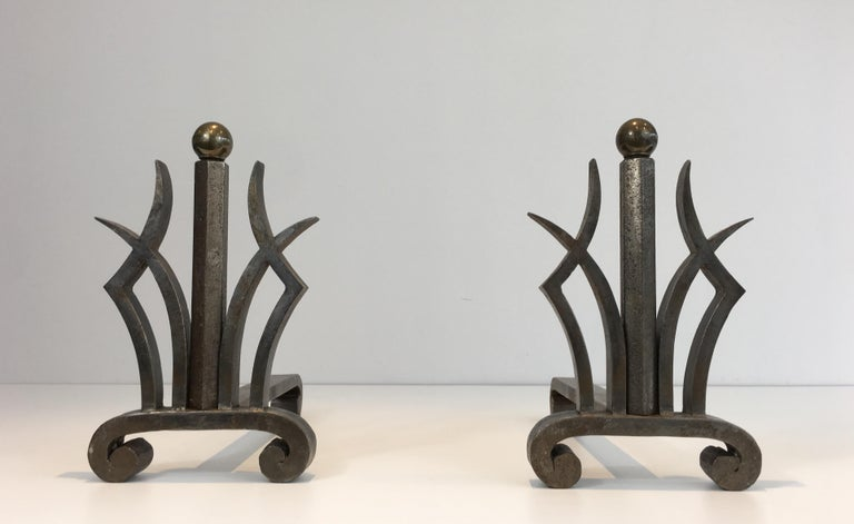 Pair of Art Deco Hammered Wrought Iron and Brass Andirons, French, circa 1930 For Sale 12