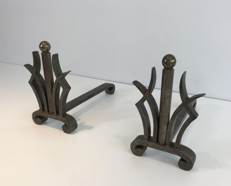 Pair of Art Deco Hammered Wrought Iron and Brass Andirons, French, circa 1930 For Sale 13