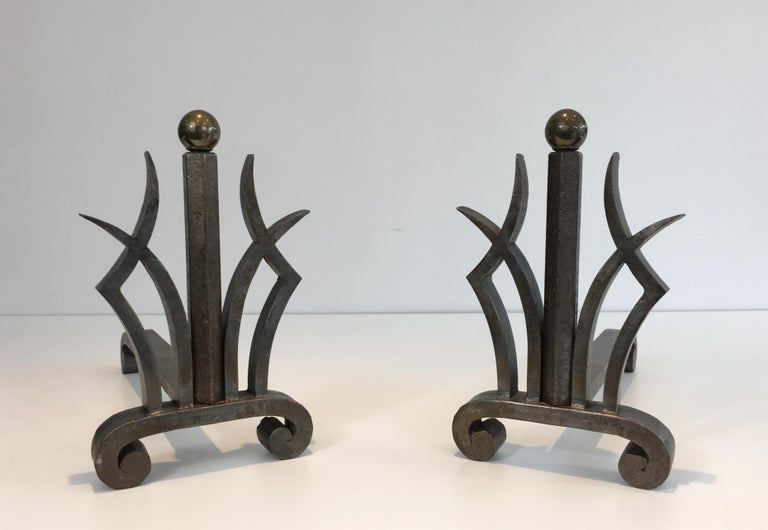 Pair of Art Deco Hammered Wrought Iron and Brass Andirons, French, circa 1930 For Sale 14