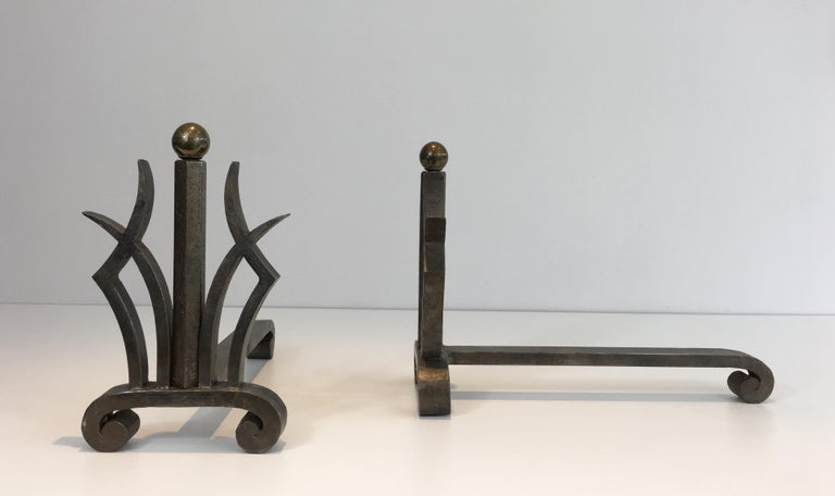 Pair of Art Deco Hammered Wrought Iron and Brass Andirons, French, circa 1930 For Sale 2