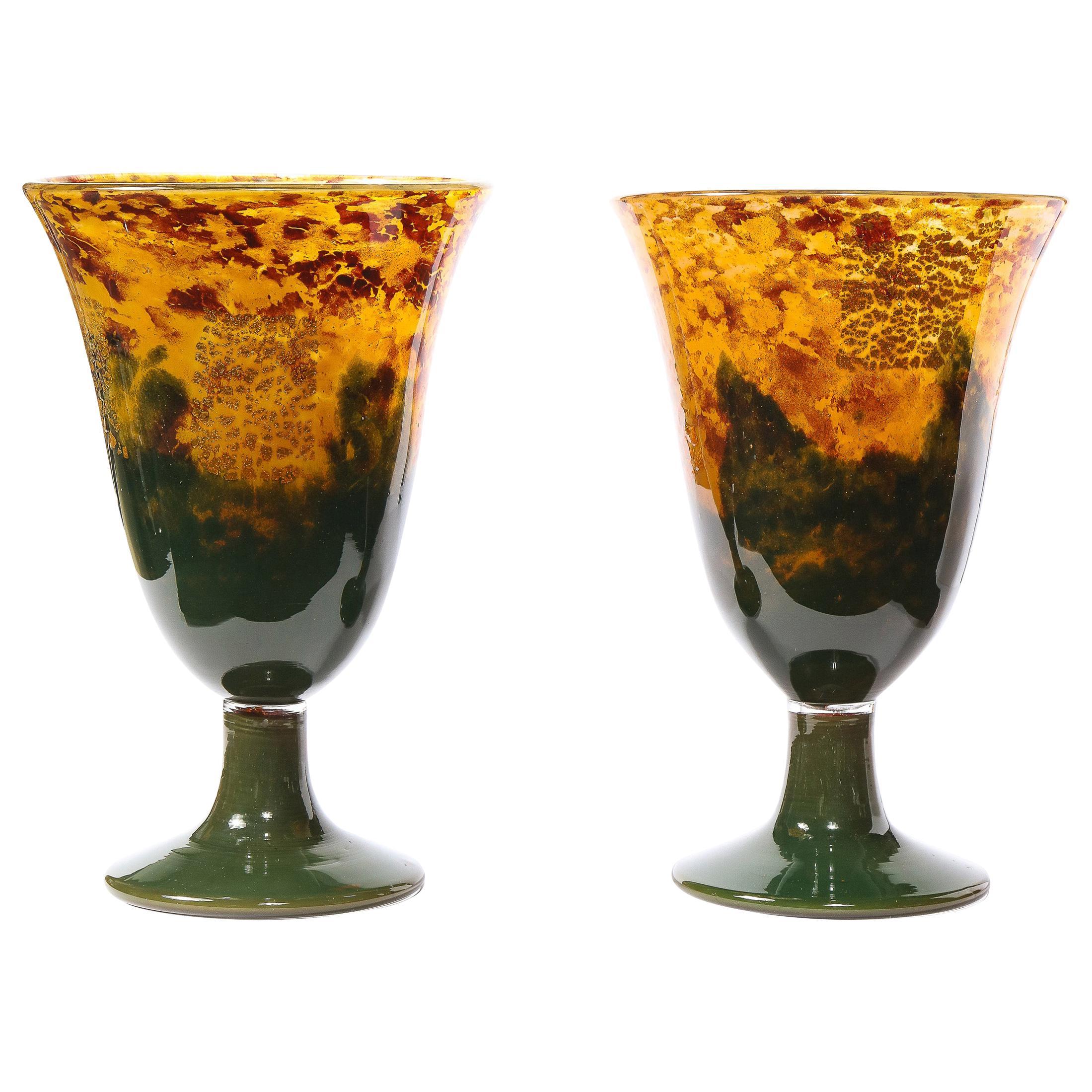 Pair of Art Deco Handblown Ruby, Saffron & Emerald Vases Signed Daum Nancy
