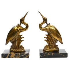 Pair of Art Deco Heron Bookends, France, 1920s