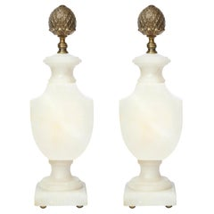 Pair of Art Deco Hollywood Alabaster Table Lamps w/ Bronze Pommes de Pin Finials