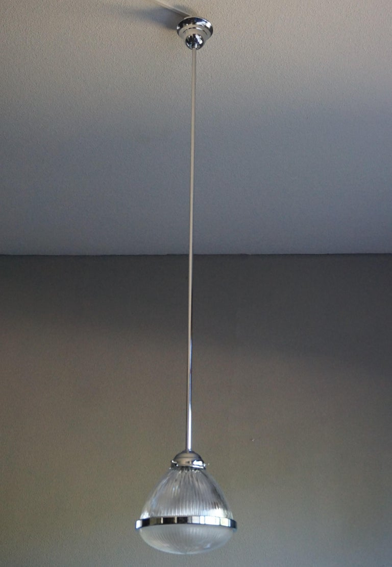 Pair of Art Deco Holophane Pendant Lights Made in England 1909 with New Rods For Sale 9
