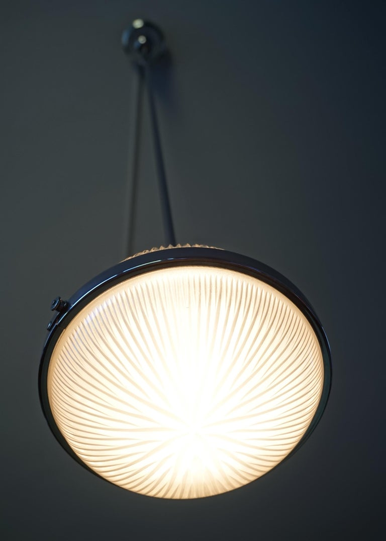 Pair of Art Deco Holophane Pendant Lights Made in England 1909 with New Rods For Sale 10