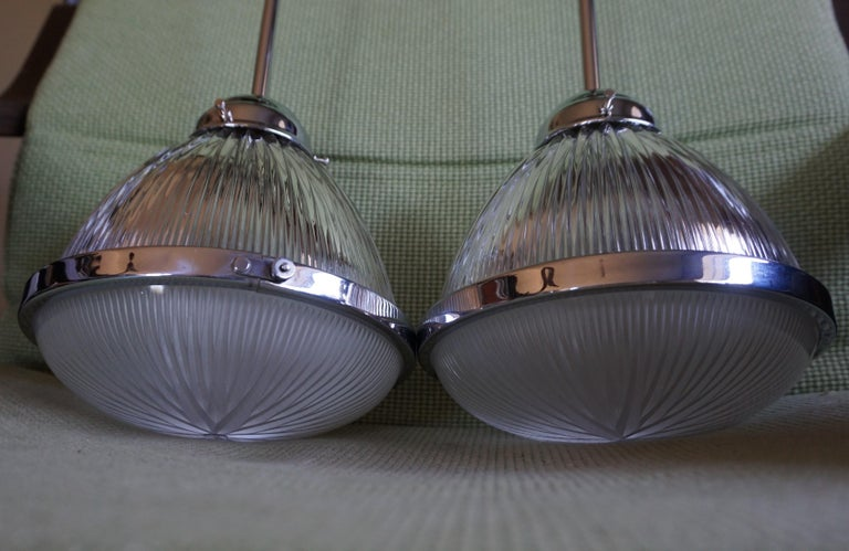 Pair of Art Deco Holophane Pendant Lights Made in England 1909 with New Rods For Sale 13
