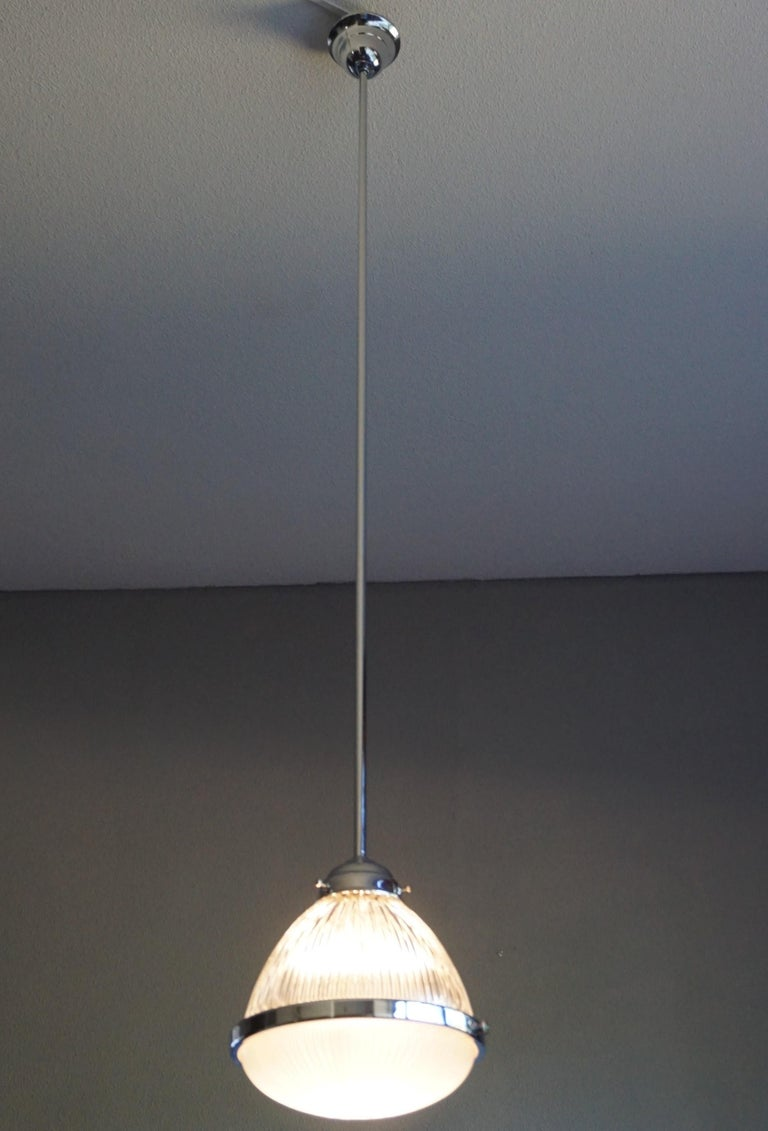 Pair of Art Deco Holophane Pendant Lights Made in England 1909 with New Rods For Sale 14