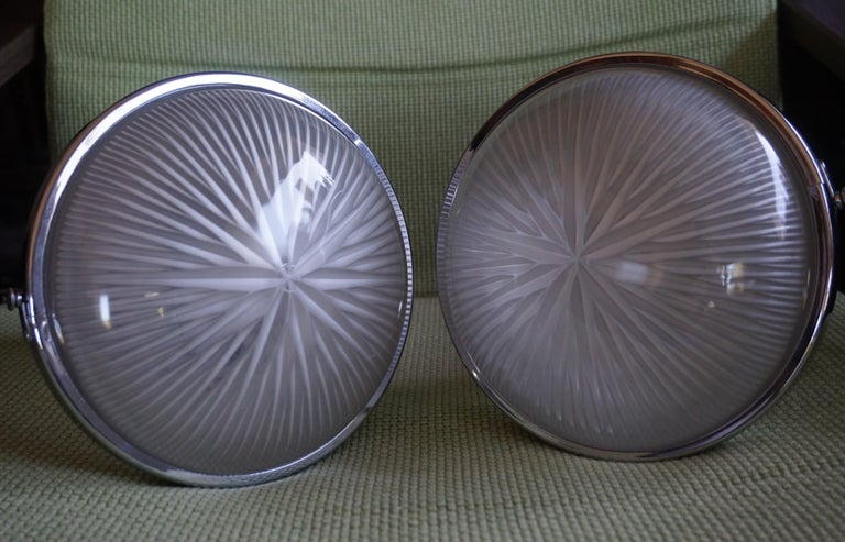 20th Century Pair of Art Deco Holophane Pendant Lights Made in England 1909 with New Rods For Sale