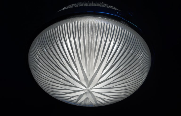 Glass Pair of Art Deco Holophane Pendant Lights Made in England 1909 with New Rods For Sale
