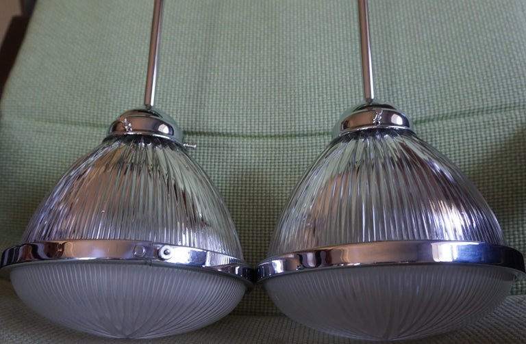 Pair of Art Deco Holophane Pendant Lights Made in England 1909 with New Rods For Sale 2