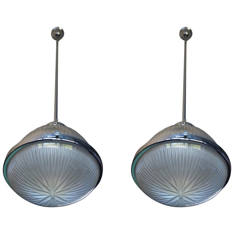 Pair of Art Deco Holophane Pendant Lights Made in England 1909 with New Rods For Sale