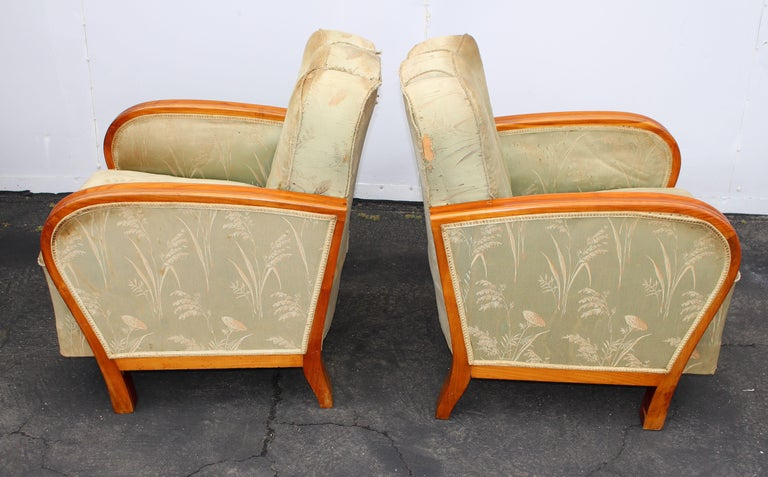Pair of Art Deco Hungarian Club Chairs In Good Condition For Sale In Los Angeles, CA