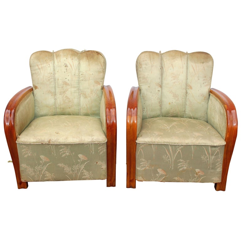 Pair of Art Deco Hungarian Club Chairs For Sale