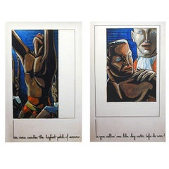"Pair of Art Deco Illustrations, ""Slave Story"" by Fred Pendexter"