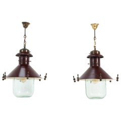 Pair of Art Deco Industrial Lanterns with Original Glass Shades, 1930s