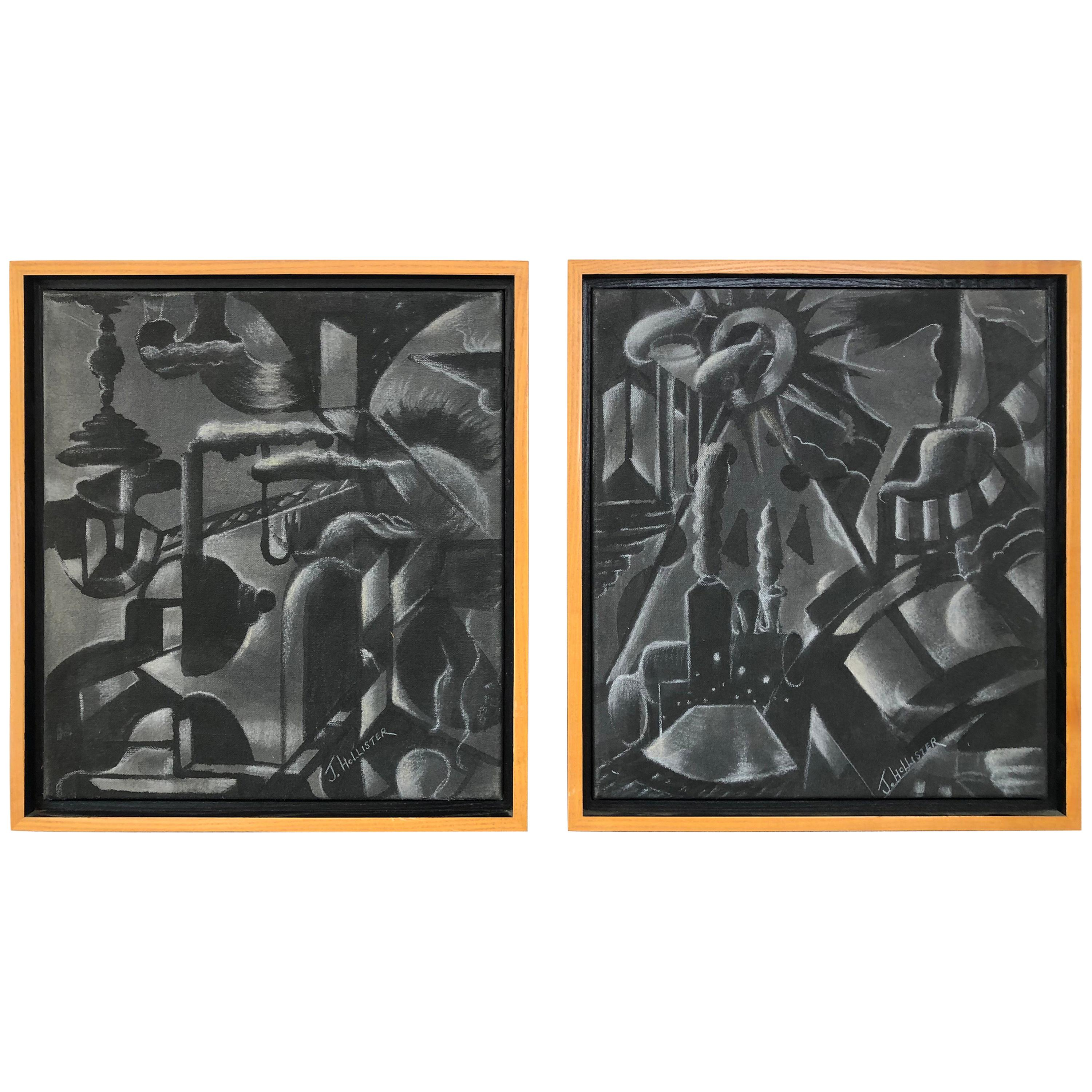 Pair of Art Deco Industrial Scene Painting, Signed J. Hollister