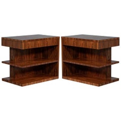Pair of Art Deco Inspired Nightstand End Tables