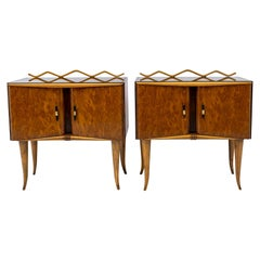 Pair of Art Deco Italian Ash Briar and Walnut Bedside Tables, 1920s