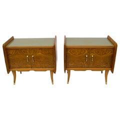 Pair of Art Deco Italian Bedside Tables White Ash Briar, 1920s