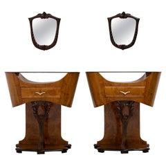 Pair of Art Deco Italian Briar Walnut Bedside Tables, 1920s
