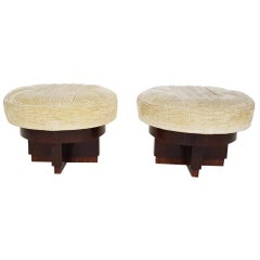 Pair of Art Deco Italian Mahogany Ottomans, Poufs or Stools, Italy, 1930s