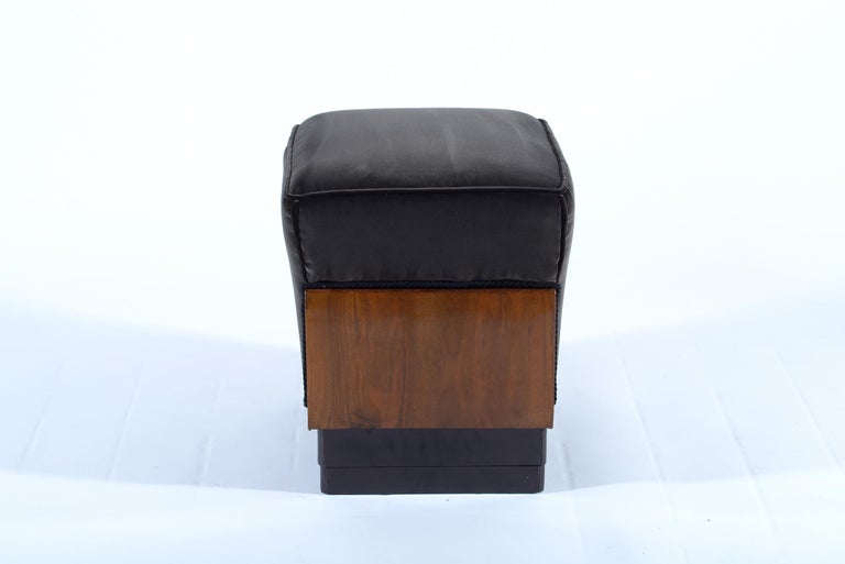 Squared structure in local walnut, degrading base step in ebonized walnut. Covered with new black velvet. These two art deco stools are a beautiful example of the