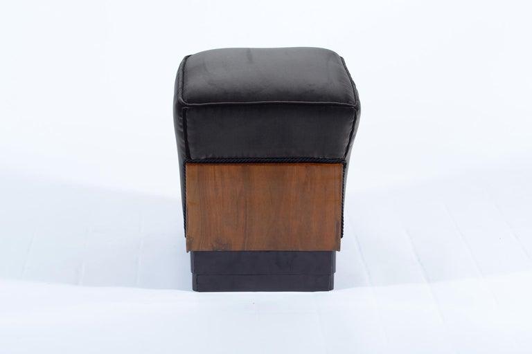 Pair of Art Deco Italian Stools Black Velvet, 1930 For Sale 2